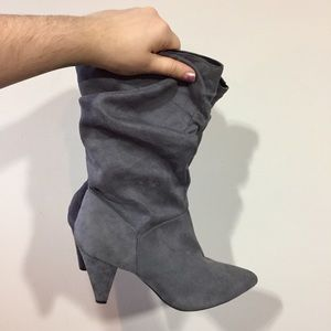 cute slouchy grey heeled boots